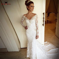 Mermaid V neck Long Sleeve Crystal lace Formal Bridal Gown Wedding Dresses 2018 New Fashion Wedding Gowns Custom Made YB56