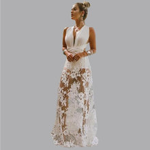 Elegant white robe soiree Backless Sexy Lace Slim Long evening dresses White V Neck Holiday Party Prom Gown