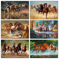5d Diy Diamond Painting Cross Stitch The Running Horses Diamond Embroidery Crystal Animal Diamond Mosaic Pictures