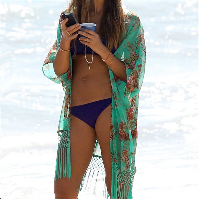 03a1c3cf4106e Beach Cover up Floral Swimwear Ladies Tassel Pareo Beach Cape Sun Bath Beach  Wear Dress Chiffon Swimwear New Arrivals
