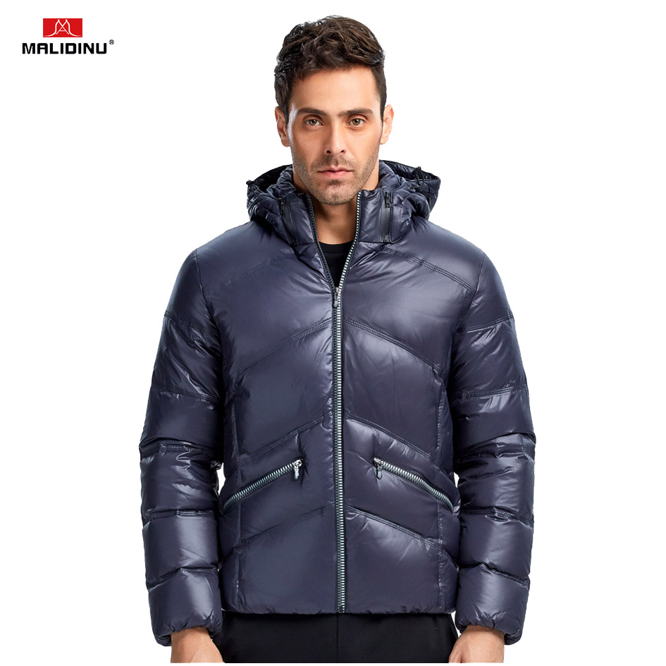 MALIDINU 2019 New   Down   Jacket Men Winter   Down     Coat   Mens Thick Warm Hooded Jackets Brand 70%White Duck   Down   Outwear Men -30C