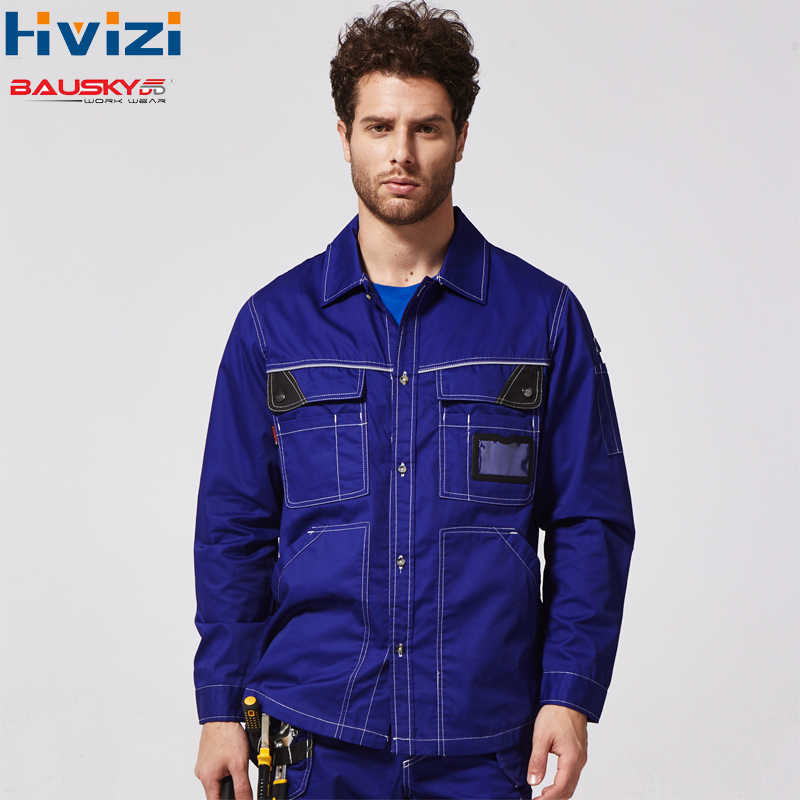 New Long Sleeve Shirt Mens Regular Fit Turn-down Collar Work Wear Shirts Men With Tool Pockets ID Pocket B229