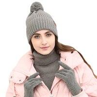 Femmes D'hiver Pompon Chapeaux Foulards Gants Tricotés Ensemble FashionCotton Chaud Épais châle Pour Les Filles Femme Jeunesse Pleine Doigts Gant
