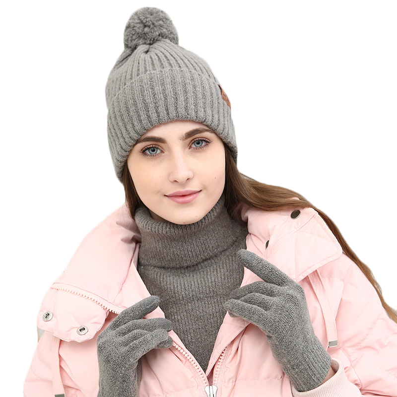 Women Winter Knitted Pompom Hats Scarves Gloves Set FashionCotton Thick Warm Shawl For Girls Female Youth Full Fingers Glove