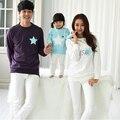 Mamá y yo ropa mirada familia padre madre del bebé de algodón de manga completa mirando mis estrellas trajes a juego de la familia
