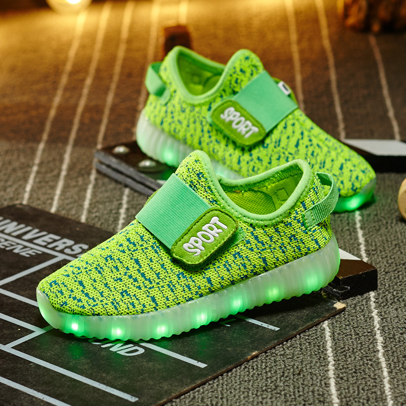 3ebccbe46 9.5 13size 2017 New Fashion Light Up Shoes For Children Glowing Sneakers  Sport Running Led Usb Charging Luminous Yeezy Leisure -in Sneakers from  Mother ...
