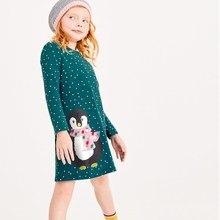 Appliques penguin Toddler dresses girls clothing autumn baby dresses long sleeve cotton polk dot vestido 2018 kids frocks 2years