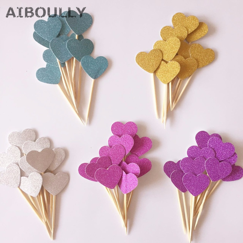 10pcs Handmade Multi Colors Lovely Glitter Small Heart Cake Topper Cupcake Party Supplies for Birthday/Wedding Party Decoration