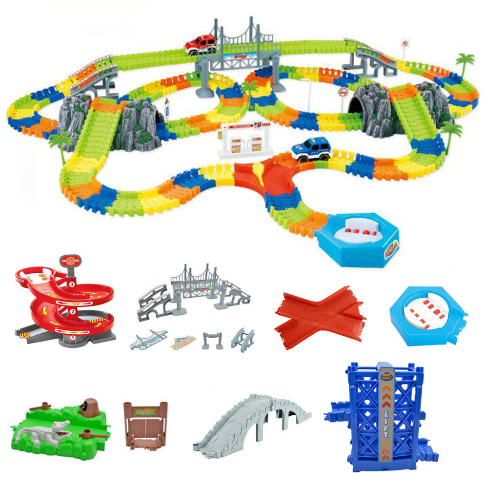DIY Racing Track Toy Universal Accessories Magical Lighting Track Ramp Turn Road Bridge Crossroads Children's Toys Gifts