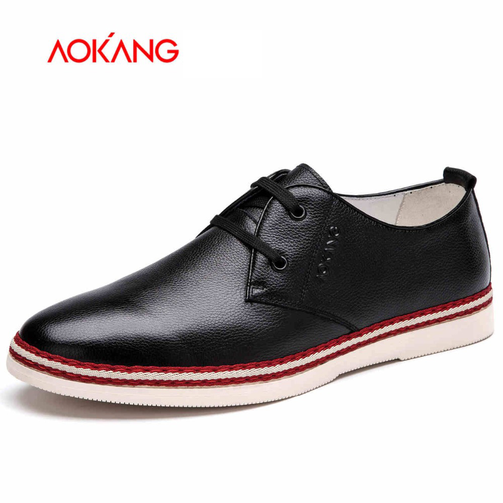 Aokang 2016 New Arrival Full Grain Leather shoes  Men casual Shoes Flats shoes Comfortable lace-up shoes free shipping free shipping 2017 new black brown autumn and winter full grain leather casual shoes men s fashion flats lace up shoes for men