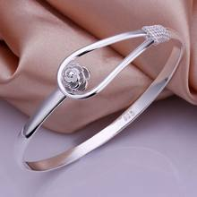 2015 New 925 jewelry silver plated Fashion Jewelry Flower singlet buckle bracelets&bangle,Wholesale jewelry SMTB179(China)
