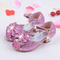 Four Colors 2017 Children Princess Sandals Kids Girls Wedding Shoes High Heels Dress Shoes Party Shoes