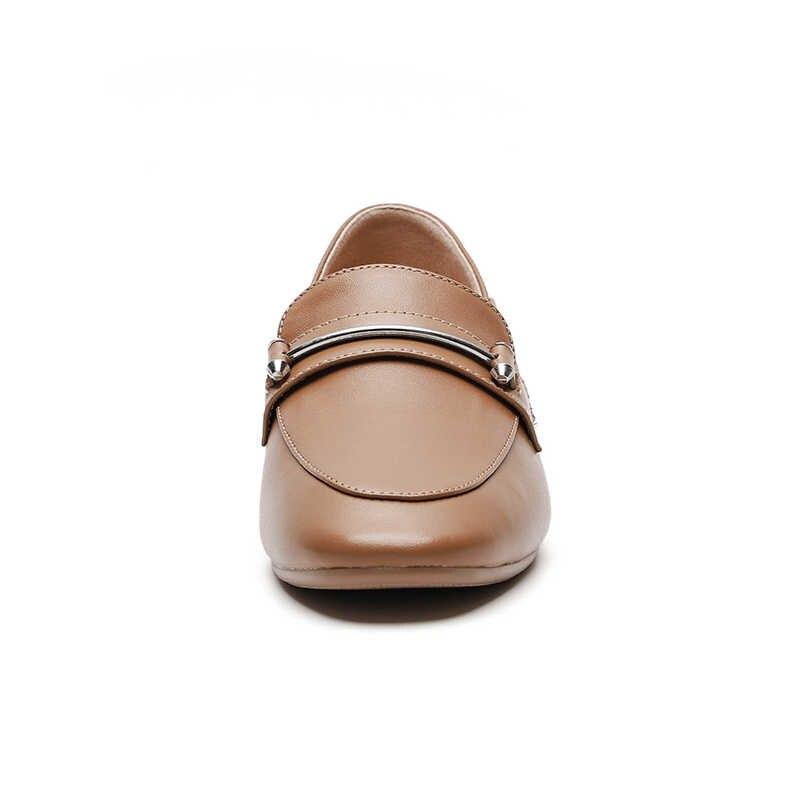 WETKISS Lederen Flats Vrouwen Vierkante Teen Schoenen Mode Casual Vrouwelijke Loafers Zachte Zool Schoenen Vrouw Muilezels Herfst 2020 Plus Size