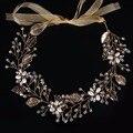 High end big hair ornaments gilded leaf alloy hoop ethnic storm Sia Mia accessories wedding style Headdress CY161117-188