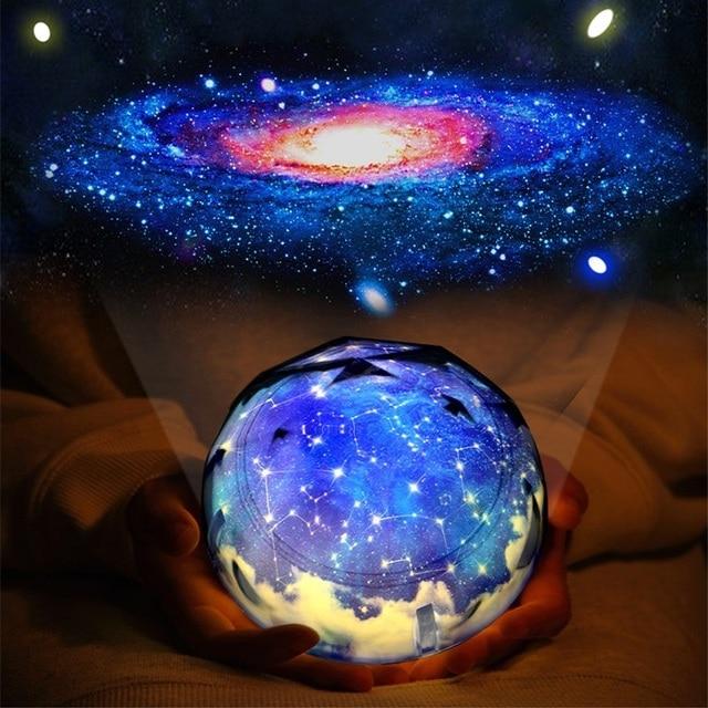 לילה אור רוטרי כדור הארץ קסם של מקרן מנורת LED כדור הארץ יקום צבעוני רוטרי לילה מנורת מתנת חג המולד לתינוק ילד