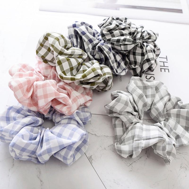 New Women Elegant Simple Plaid Crude Elastic Hair Band   Headwear   Cloth Scrunchies Hair Rope Headband Rubber Band Hair Accessories