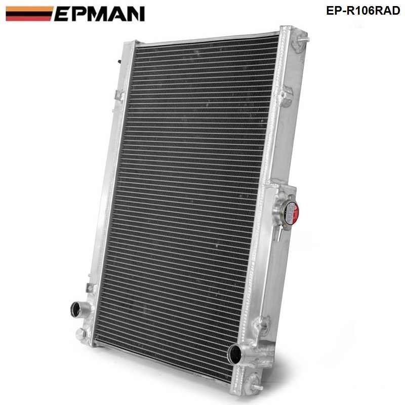 EPMAN -42MM 2 Row Aluminum Radiator for Nissan Skyline R33 R34 GTR GTST RB25DET MT EP-R106RAD epman universal 2 25 inch 57mm turbo intercooler aluminum pipe silicone hose kit black length 600mm for bmw e60 ep lgtj57 600