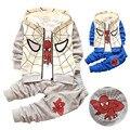 Meninos Spiderman Roupas Conjuntos Casuais de Manga Longa Zip Casaco Com Capuz + T-shirt + Calças de Algodão 3 pcs conjuntos Para O Inverno Desgaste Do Outono