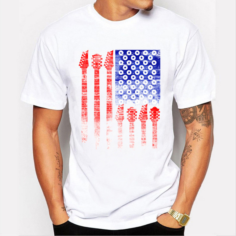JCCHENFS 2018 Mens Summer T Shirt USA flag Print Guns n Roses Fashion Short Sleeve Mens T-shirt Casual O-Neck Tops
