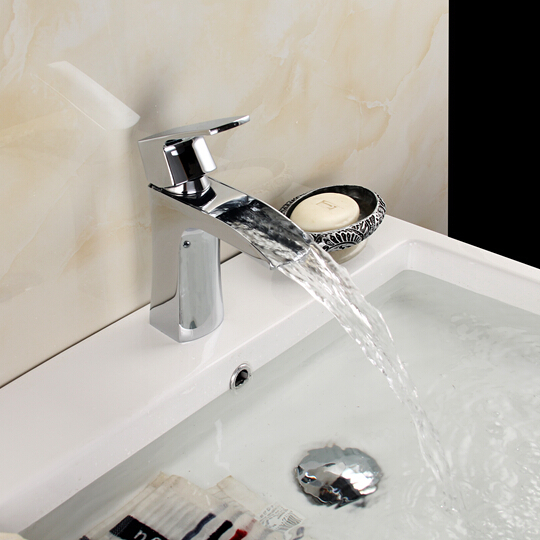 ⑦heavy Waterfall Faucet Bathroom Single Hole Deck Mount