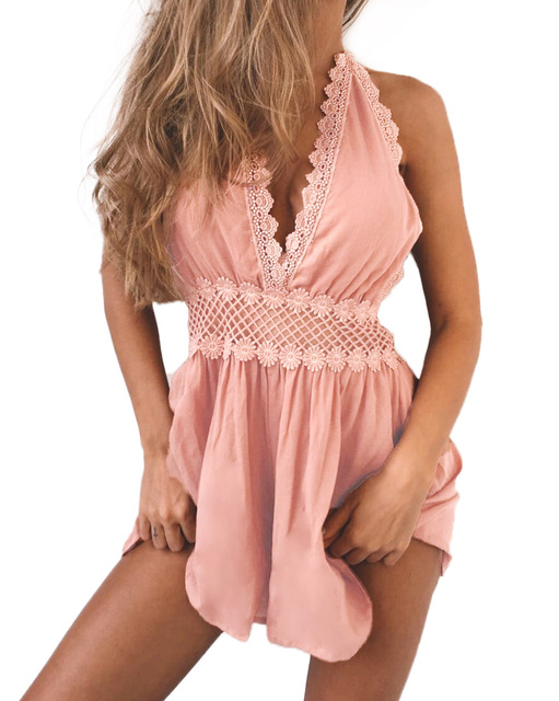 57825350592 Sexy Backless Deep V Rompers Womens Jumpsuit Crochet Lace Halter Overalls  Tassel Sleeveless Hollow Out Waist Chiffon Playsuit