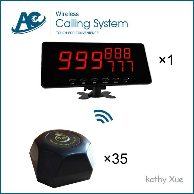 Sistema de Chamada de Campainha para o Serviço de Restaurante mesa (35 PCS Botão e 1 PCS Display LED À Prova D' Água)