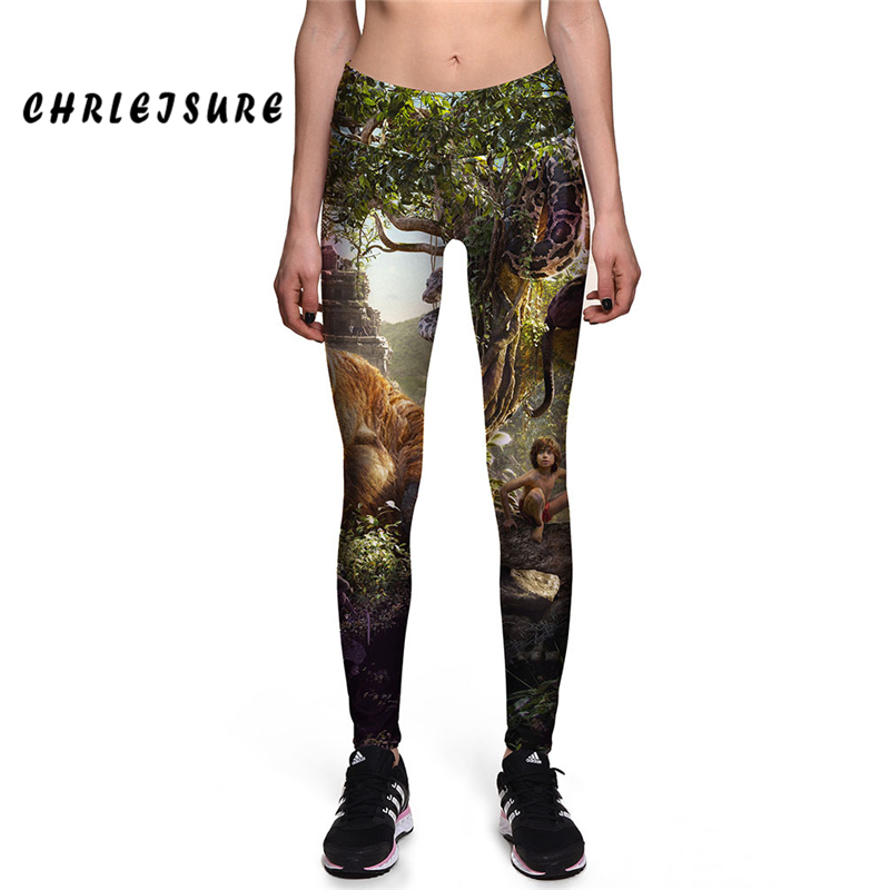 CHRLEISURE S-XL The Jungle Book Movie Digital Printing Leggins Women High Waist Elastic Pants Casual Slim Trousers Leggings ...