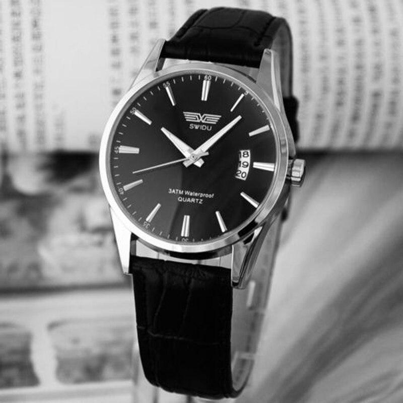 Jimshop clásico de lujo de la moda de cuero negro Correa Calendario de cuarzo  para hombre fecha reloj envío rápido en Relojes de cuarzo de Relojes en ... fe56ae251f96
