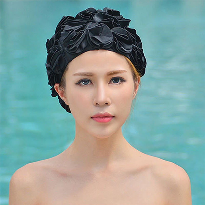3d Flowers Women Swimming Cap Adult Swim Sports Pool Swimwear Ladies Solid Color Elastic Swim Bathing Hat Cap