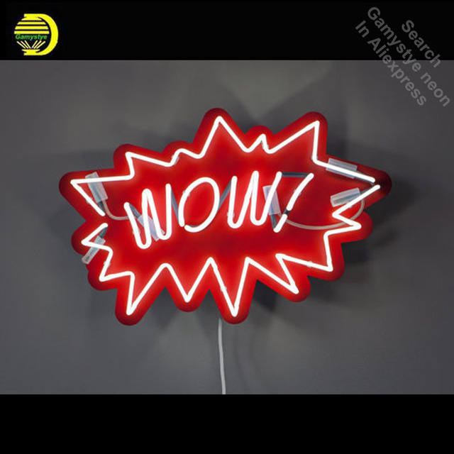 Neon Sign for WOW Pop Art Neon Bulb sign handcraft Handmade neon signboard personalized post war consumer boom with board 1