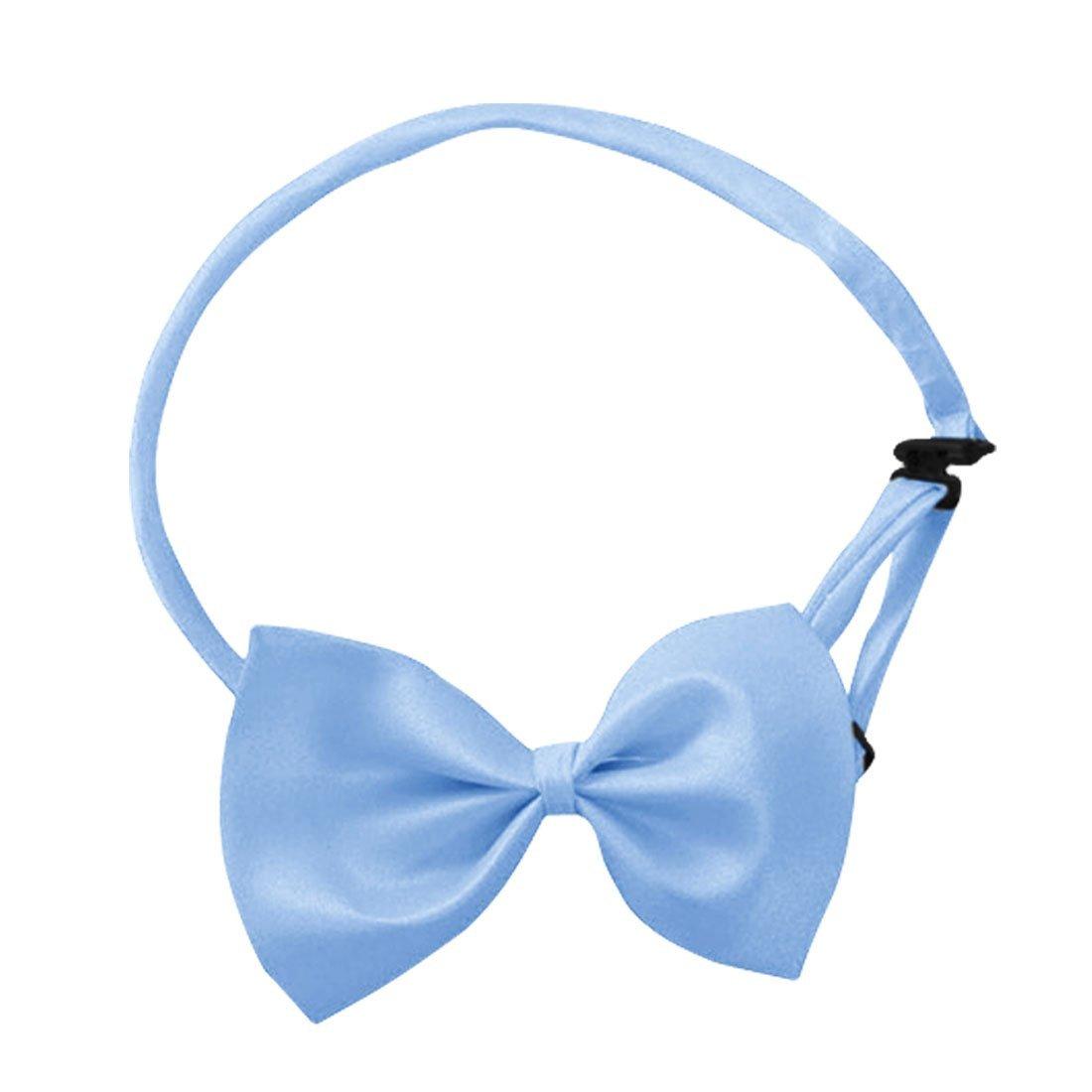 MYTL Blue Men Polyester Adjustable Strap Clip-on Installation Bow Tie