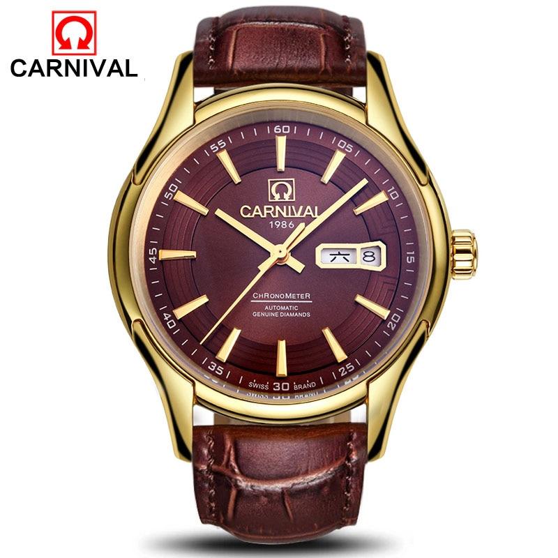 Здесь продается  Carnival New Luxury Men Automatic Mechanical Watches Genuine Leather Waterproof Calendar Fashion Men Business Clock montre homme  Часы