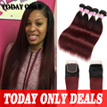 Burgundy Ombre Hair with Closure Malaysian Virgin Hair with Closure 4 pcs Straight Hair with Closure Lace Closure with Bundles
