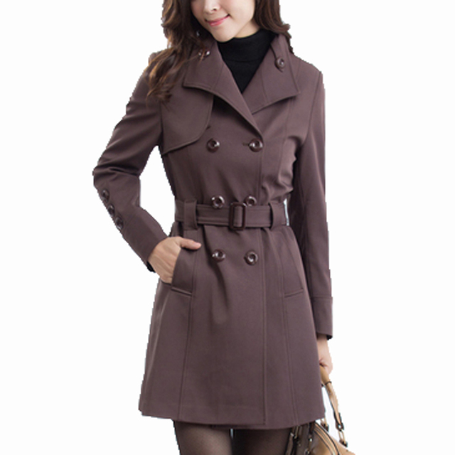 2016 new spring fashion Casual double breasted  women's Trench Coat long Outerwear loose clothes for lady good quality KL269