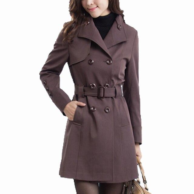 2016 nueva primavera moda Casual doble de pecho de las mujeres Gabardina larga Ropa de Abrigo ropa suelta para dama de buena calidad KL269