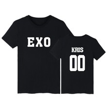 EXO Style White Cotton T-shirt Durable Men/Women KRIS 00 in the back colthes T-shirt Street Wear with fashion style