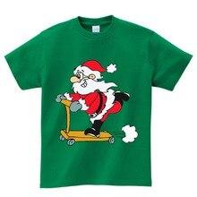 Cotton Children T-shirt Baby Boy girl Christmas Santa Claus Short Sleeve T shirt Tops t O-Neck tee clothes 2-15year  NN
