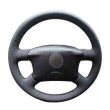 Cobertura de volante de carro em couro artificial, costura à mão, preto, envoltório para volkswagen vw golf 4 (iv) passat b5 variant