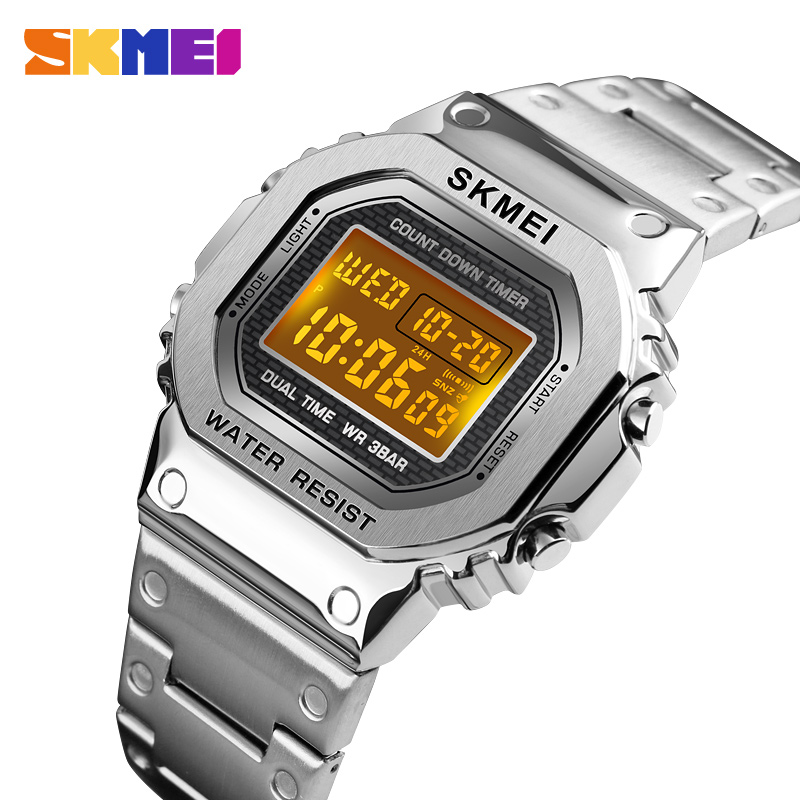 SKME Business Men/Women Digital Wristwatch Luxury Casual Stainless Steel Strap Countdown Alarm 12/24 Hour Clock Reloj Mujer <font><b>1456</b></font> image