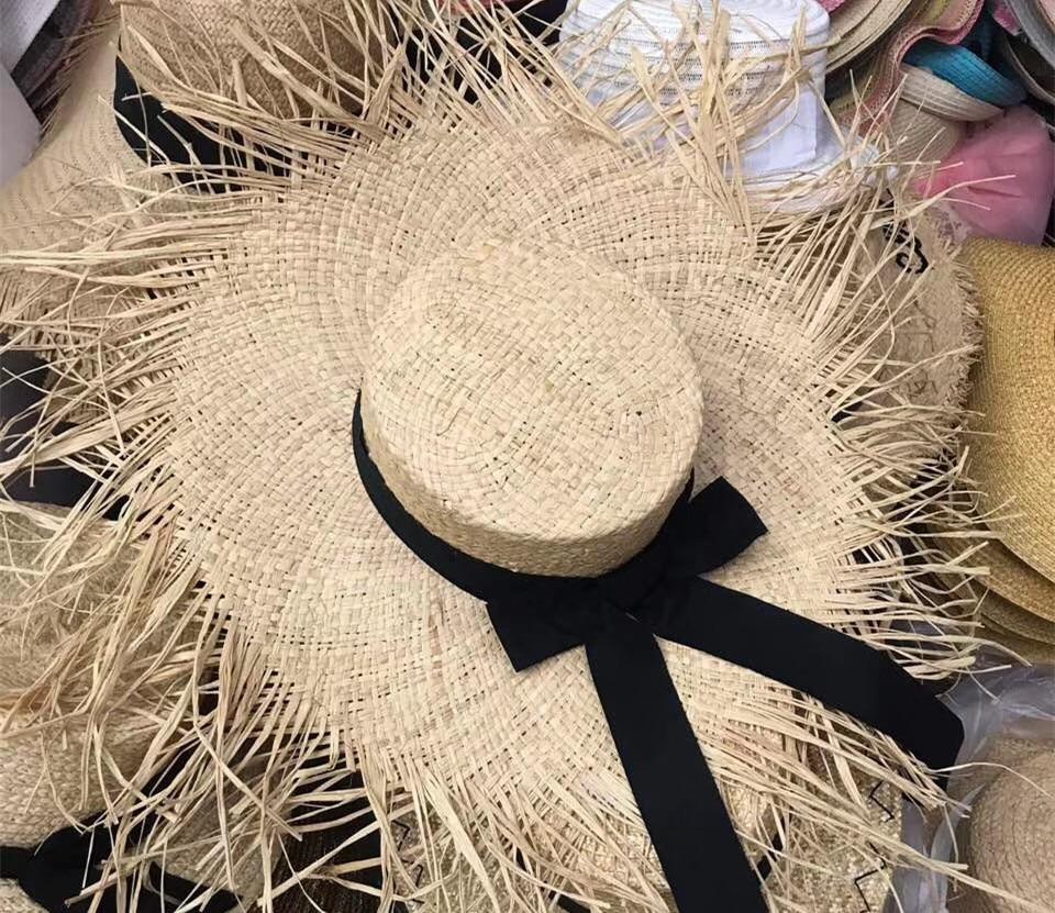 01902-axi Summer Handmade Raffia Big Wind Brim Holiday Hat Solid Lady Beach  Sun Cap Women  Leisure Hat Take Photo