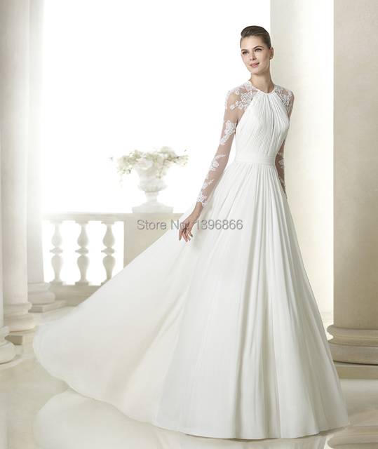 Hairstyle For Halter Neck Wedding Dress: See Through Long Sleeve Wedding Dress 2015 Halter Neck
