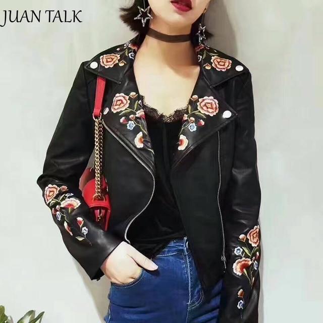 2017 New Autumn Women Fashion Flower Embroidery Pu Leather Jacket