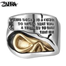 Zabra реальные 925 Серебряная печатка Кольца для Для мужчин золото череп серьги выгравировать говоря панк-рок кольцо Для мужчин S Biker Heavy sterling Серебряные ювелирные изделия