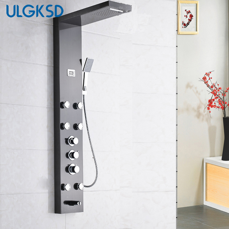 Ulgksd Thermostatic Shower Set Shower Column & Panel Massage Jets Tub Spout W/ Hand Show ...