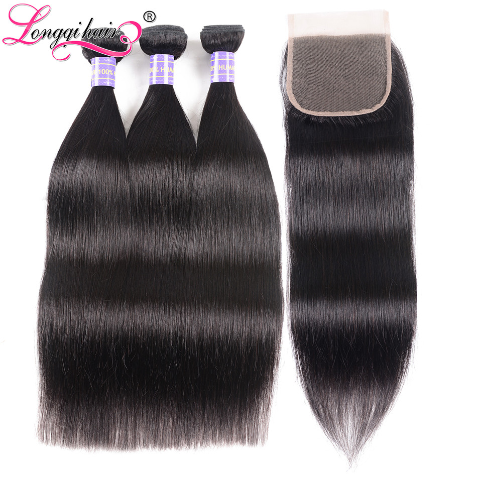 Longqi Hair Malaysian Straight Hair Bundles With Closure 100 Human Hair Extensions Remy Hair Bundles With