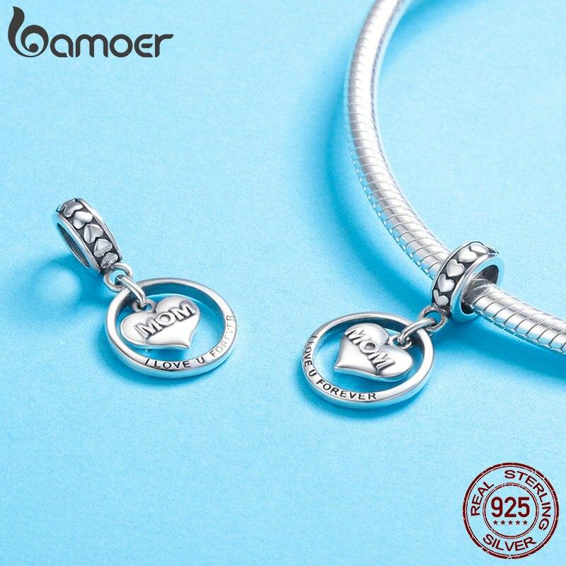 925 Sterling Silver Mom Engraved Love Heart Dangle Charm Pendant Bead For Wonmen
