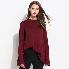 Casual Bow Sleeve Women Sweaters O-Neck Full Sleeve Solid Autumn Winter Korean Style Pullover Ladies Oversized Jumper Pull Femme bell sleeve jumper