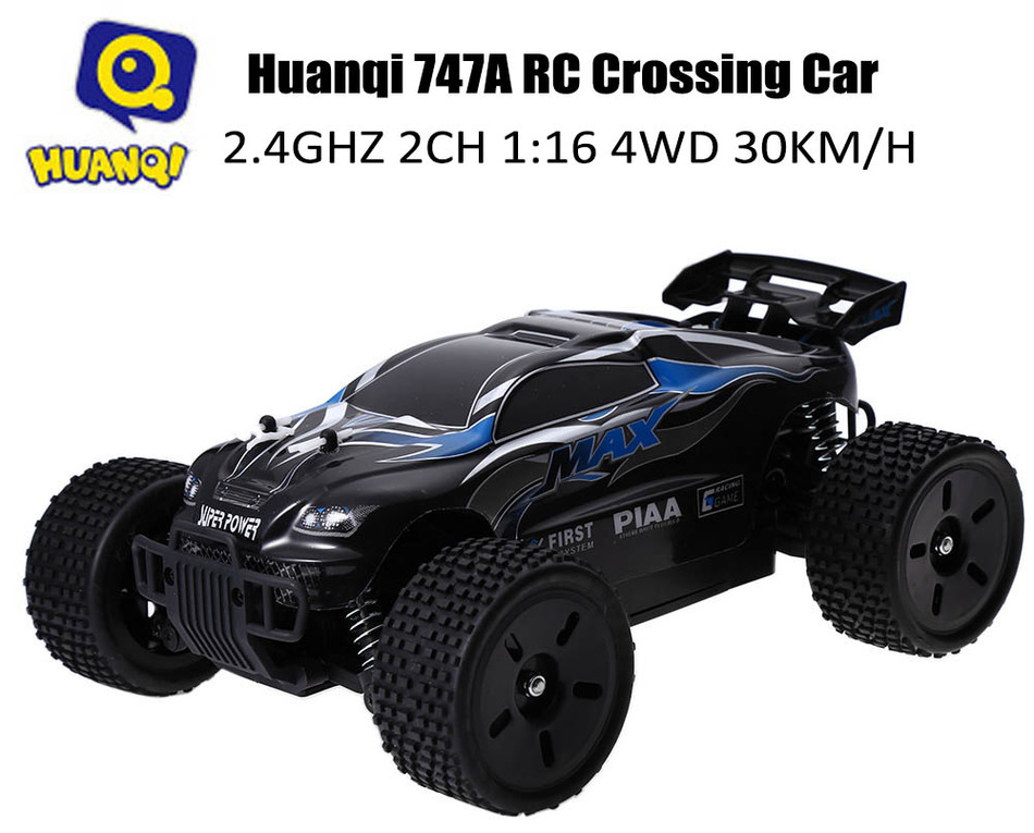 ФОТО RC Car Huanqi 747A Monster Truck With 2.4GHZ 2CH 1:16 4WD High Speed 30KM/H Remote Control Rock Crawler Car RTR Vehicle Toy