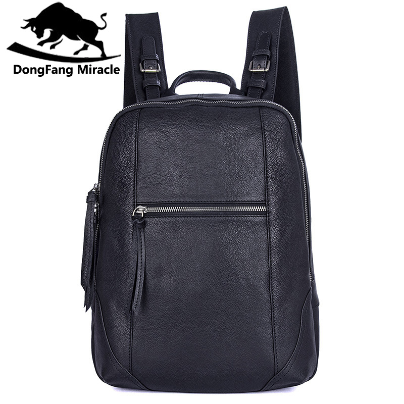 DongFang Miracle Backpack Genuine Leather Male Shoulder Bag Large Capacity Travel Bags For Man 15.6inch Laptop Bag School Bag sendefn genuine leather backpack large capacity rivet black shoulder bag women casual backpack teenage girls school travel bags