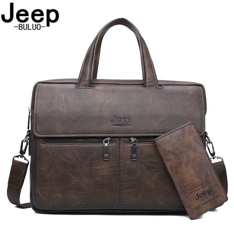 JEEP BULUO  Men Bags Business Briefcase Bag For 14 Inches Laptop A4 Male Bag Cow Split Leather High Quality Travel Bags Handbags